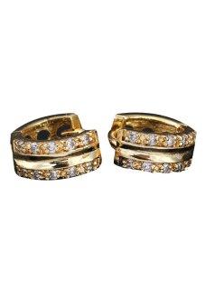 New 18K Gold Plated Hoop Earrings for Women Sparkle Stone Crystal Earrings