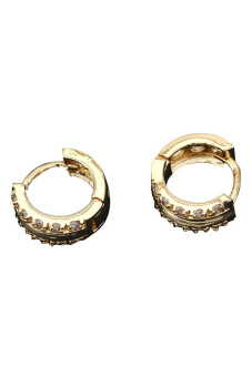 New 18K Gold Plated Hoop Earrings for Women Sparkle Stone Crystal Earrings - picture 2