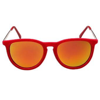 New 2015 Round Sunglasses Women Velvet Sunglasses Red (Intl)