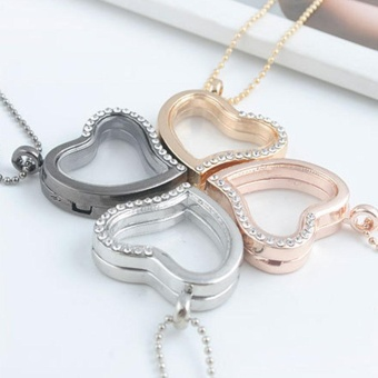 New Chic Popular Fashion Living Memory Floating Locket Love Heart Half Rhinestone Charm Pendant Necklace Christmas Gift - intl - picture 2