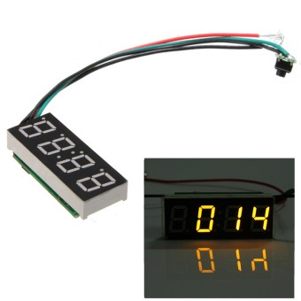 New DC7~30V Digital Led Electronic Time Clock Watch for Car AutoMotorcycle Yellow