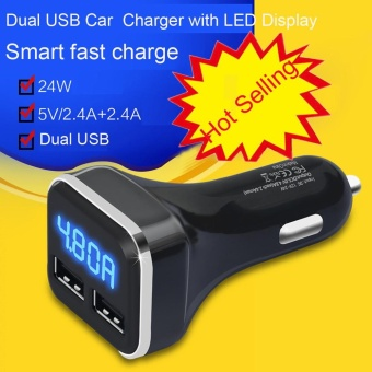 New Dual USB Car Cigarette Charger with LED Display Volt Amp Meter DC 4.8A 5V - intl