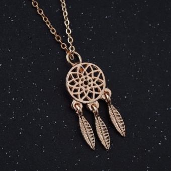 New Fashion accessories wedding Jewelry Bohemian Feathers necklace Gold Silver Dream Catcher pendant for girl - intl - 3