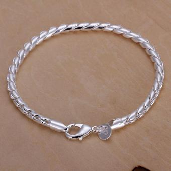 New Fashion Jewelry 925 Sterling Silver Twisted Rope Chain BraceletFor Unisex Man Women Gift - intl