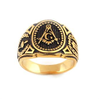 New fashion personality masonic ring male stainless steel - US size #7 - intl