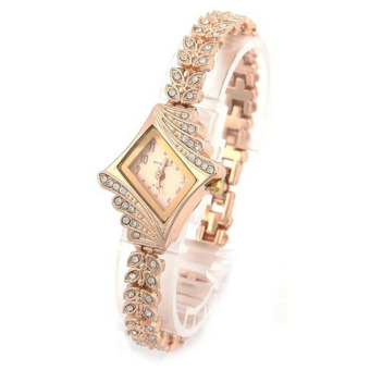 New Fashion Women Crystal Quartz Rhombus Bracelet Bangle Wrist Watch (Gold)
