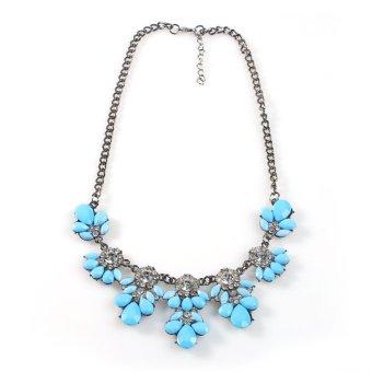New Fashion Women Vintage Crystal Flower Crystal Bib Choker Statement Necklace-sky blue - Intl - picture 2