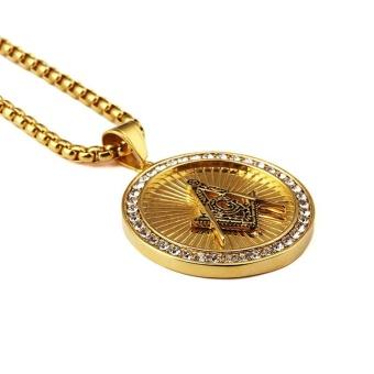 New Iced Out Gold Plated Freemason Masonic Compass G Round Pendant Free-Mason Freemasonry Hip Hop Necklace for Men/Women - intl - 5