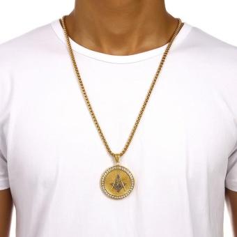New Iced Out Gold Plated Freemason Masonic Compass G Round Pendant Free-Mason Freemasonry Hip Hop Necklace for Men/Women - intl - 2