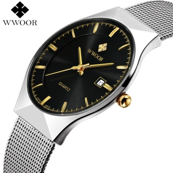 New Men Watches Top Brand Luxury 50m Waterproof Ultra Thin Date Clock Male Steel Strap Casual Quartz Watch Men Wrist Sport Watch - intl