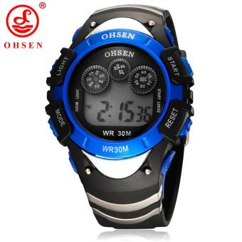 New Original Ohsen Brand Fashion Digital Sport Watch Wristwatch Children Boy 30M Waterproof Rubber Silver Watches For Kids Gift
