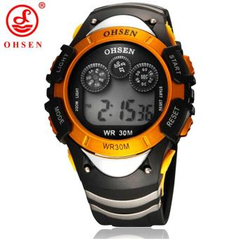 New Original Ohsen Brand Fashion Digital Sport Watch WristwatchChildren Boy 30M Waterproof Rubber Silver Watches For Kids Gift