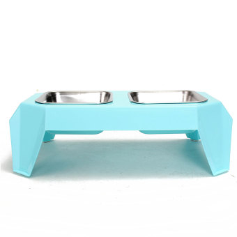 New Pet Dog Cat Double Stainless Steel Bowl Dish Food Feeder Raised Stand Holder Light Blue - intl