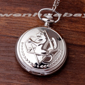 New silver tone Fullmetal Alchemist Pocket Watch Cosplay Edward Elric with chain Anime boys Gift - intl
