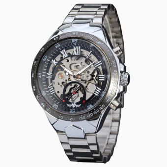 New Skeleton Automatic Watches For Men Silver Stainless Steel Wrist Watch Silver