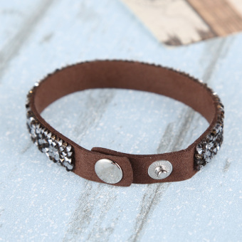 New Women's Cuff Leather Crystal Punk Bangle Bracelet? Brown - picture 2