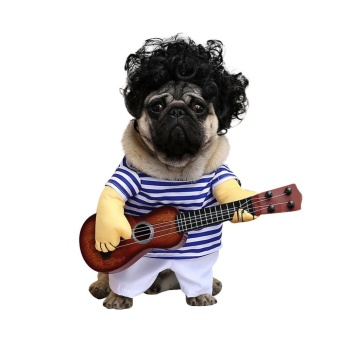 Newest & Funny Pet Guitar Player Cosplay Dog Costume GuitaristDressing Up Party Christmas Halloween Clothes for Dogs Cats Size M- intl