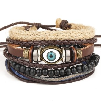 Newest Hot Products 1Set 4pcs eyeball adjustable bracelethand-woven bracelet retro multilayer bracelet-Multicolor - intl