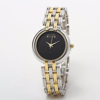 Newyork Army Black Dial Two Tone Strap Bracelet Ladies Watch NYA221