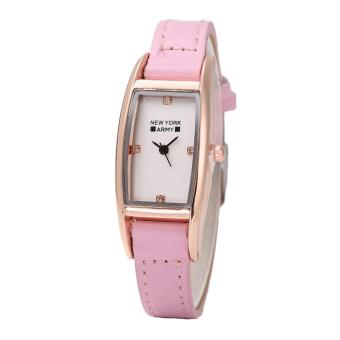 Newyork Army NYA2333 Square Dial Light Pink Leather Strap Watch