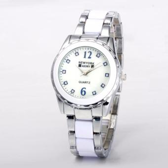 Newyork Army NYA8147G Ladies MOP Dial White Ceramic & Stainless Steel Strap Watch