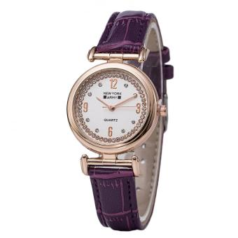 Newyork Army NYA8201 Ladies Rosegold Case Leather Strap Watch - Purple