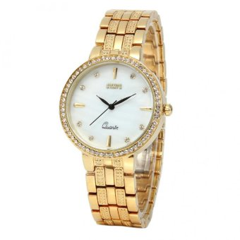 Newyork Army Studded Mother of Pearl Women's Gold Alloy Strap Watch NYA128