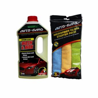 NFSC - Auto-Gard Wash And Wax 1L with Microfiber Cloth Starter Pack