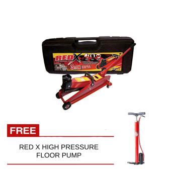 NFSC - Red X Hydraulic Floor Jack 3 tons With Free Red x High Pressure Floor Pump
