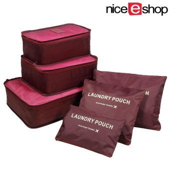 niceEshop 6Pcs Waterproof Travel Storage Bags Clothes Packing CubeLuggage Organizer Pouch (Burgundy) - intl