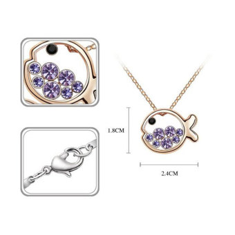 niceEshop Cute Crystal Pendant Necklace And Earrings Set (Light Purple,Set of 3) - picture 2