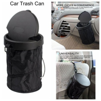 niceEshop Universal Traveling Portable Car Trash Can - CollapsiblePop-up Trash Bin With Cover (Black) - intl