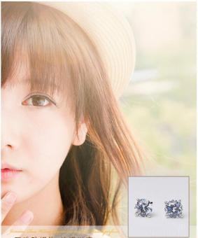 niceEshopRound Cubic Anti Allergic Crystal Ear Stud Earrings (6MM,1 Pair,White) - 4
