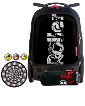 Nikidom Roller RXL-9313 Extra Large Soft Case Bag (Blackout) with Set of Button Pin, Wheel Sticker and Pencil Case