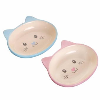 Non-Skid Cat Ear Shaped Cat Dog Bowls Ceramic Pet Feeder for Small Pets Blue_ by WWang - intl