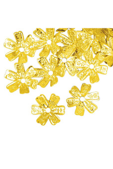 Normal Flower Bead Caps Set of 90 Gold