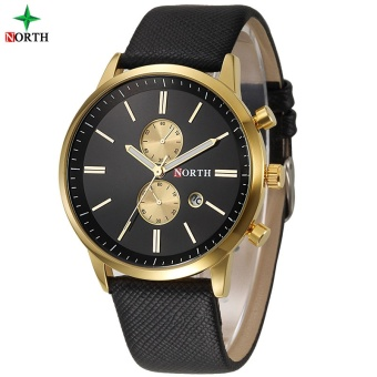 NORTH Men Business Watch Famous Brand Design Male Clock 30M Waterproof Casual Genuine Leather Quartz Fashion Casual Watch Men 6008 - intl