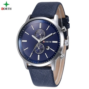 NORTH Men Business Watch Famous Brand Design Male Clock 30MWaterproof Casual Genuine Leather Quartz Fashion Casual Watch Men6008LBlackGold - intl