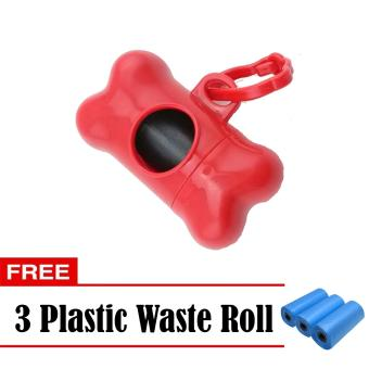 Nunbell Bones Dog Waste Poop Holder Red with FREE Plastic Waste Roll Refill Set of 3