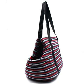 Nunbell Stripes Pattern Pet Dog Carrier Bag (Red)