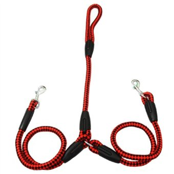 Nylon Double Dog Leash Coupler for 2 Large Medium Sized Dogs(Balckand Red, L)