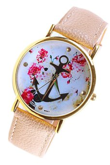 OEM Ladies Fashion Orange Leather Floral Printed Anchor Watch