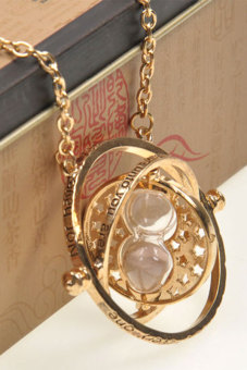 OEM Time Turner Necklace Hermione Granger Rotating Spins Gold Hourglass (Intl)