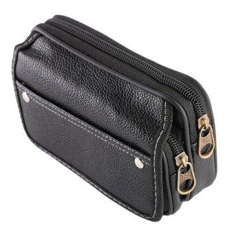 OH Men Multifunctional PU Leather Casual Wallet CRedit Card HolderWaist Bags Black - intl