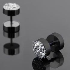 Okdeals 1 Pair Men Crystal Barbell Punk Stainless Steel Ear Studs Earrings Black