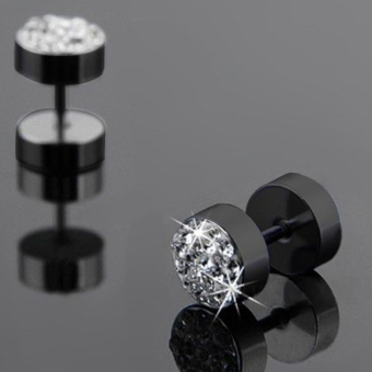 Okdeals 1 Pair Men Crystal Barbell Punk Stainless Steel Ear Studs Earrings Black