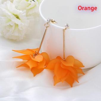 Okdeals 1 Pair Newest Lady Colorful Elegant Women Crystal FlowerColorful Drop Long Dangle Wedding Earrings Jewelry Nice Best Gift