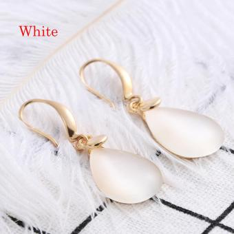 Okdeals 1 Pair Waterdrop-Shape Drop Earrings Clear Moonstone Opal Crystal Rose Jewelry Cute Romantic Nice Gift For Women