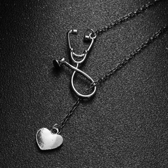 Okdeals 1 Pc 2017 Newest Medical Doctor Nurse Heart StethoscopeCardiogram Pendant Chain Necklace Jewelry Pendant Necklace
