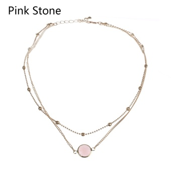 Okdeals 1 Pc New 2 Layer Crystal Opal Natural Stone PendantNecklace Collar Choker Women Vintage Jewelry Nice Gift